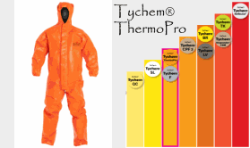 Dupont Tychem ThermoPro Hazmat Suit Protection Chart