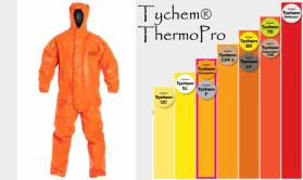Dupont Tychem ThermoPro Hazmat Suit Protection Chart